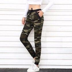 Aosheng 2019 nova camuflagem joggers mulheres sweatpants harem camo calças com cordão pantalones femme mujer solto calca feminino