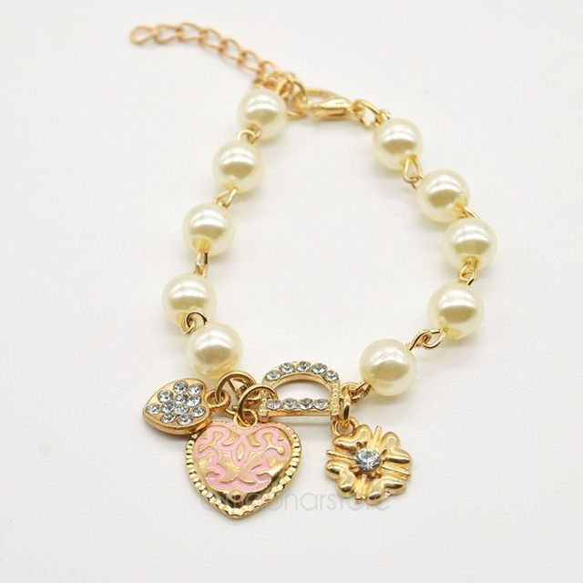 Fashion women pearl jewelry gold plated sweetheart pendant bracelet fashion women pearl jewelry gold plated sweetheart pendant bracelet rhinestone letter d hand chain lady aloadofball Gallery