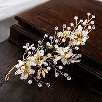 Golden Bride Crystal Headdress Wedding accessories flower headpiece Bride Pearl fascinator