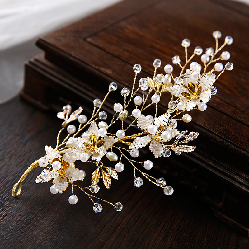 Golden Bride Crystal Headdress Wedding accessories flower headpiece Bride Pearl fascinator