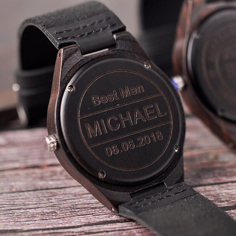 Personalisierte Uhren Männer Holz Gravur Uhr Jahrestag Geschenke Groomsmen Präsentieren Vater der EIN Großes Geschenk für Männer Drop Shiping