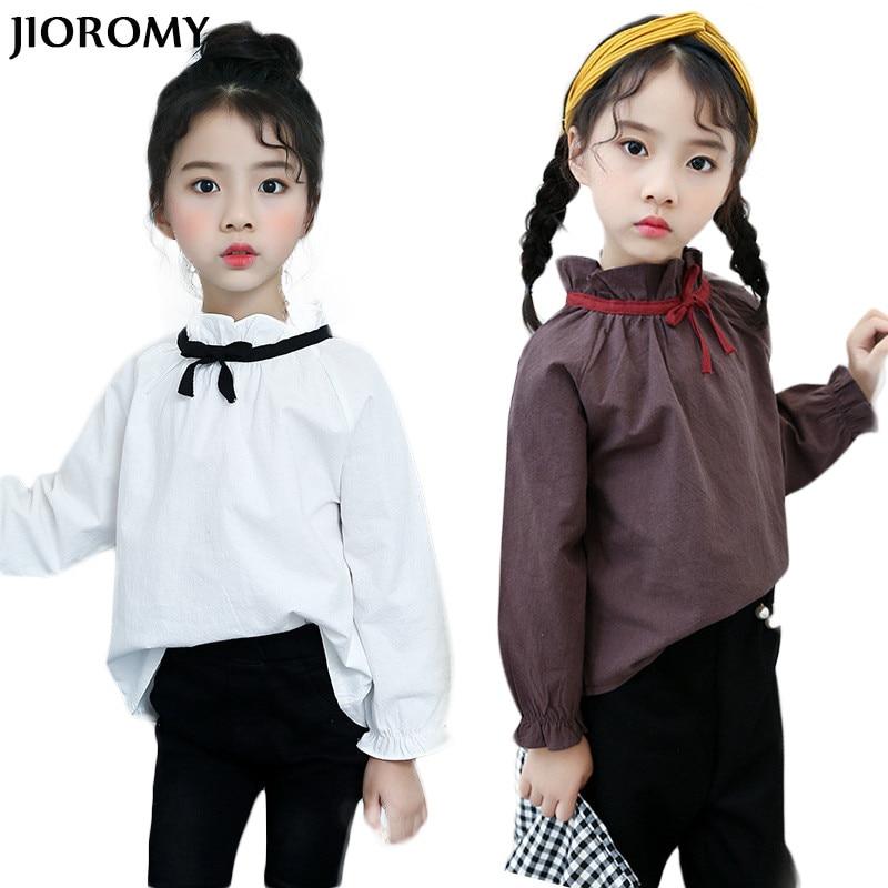 88fa1a8eb Jioromt كبيرة الفتيات تي شيرت 2018 جديد ملابس الطفل ربيع الخريف طويلة  الأكمام القطن أعلى قميص للبنات أطفال الأطفال الملابس