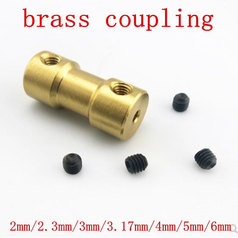 2mm/2.3mm/3mm/3.17mm/4mm/5mm/6mm Brass Flexible Motor Shaft Coupling Coupler Motor Transmission Connector 3mm shaft screw clamp motor wheel brass coupler coupling