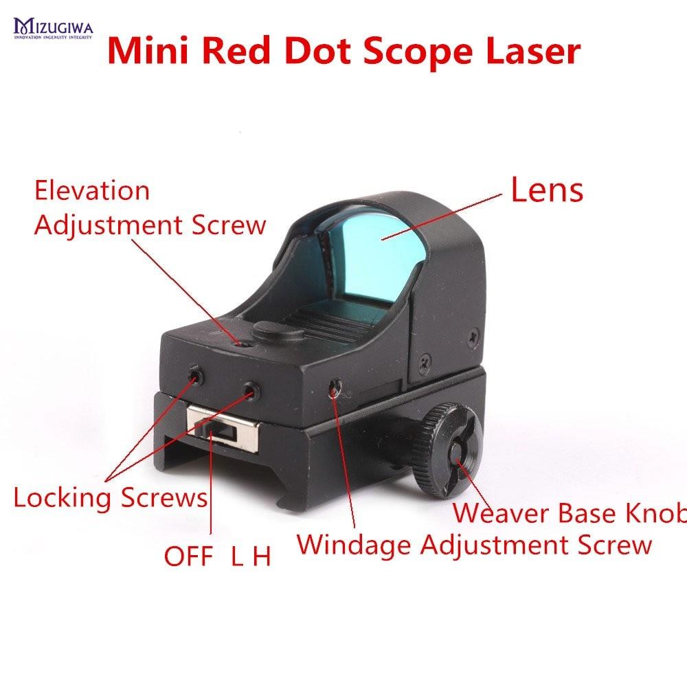 Adjustable Brightness Riflescope Lens Mini Micro Reflex Red Dot Scope Laser Sight Rifle Pistol Weaver Picatinny 20mm w/Sunshade