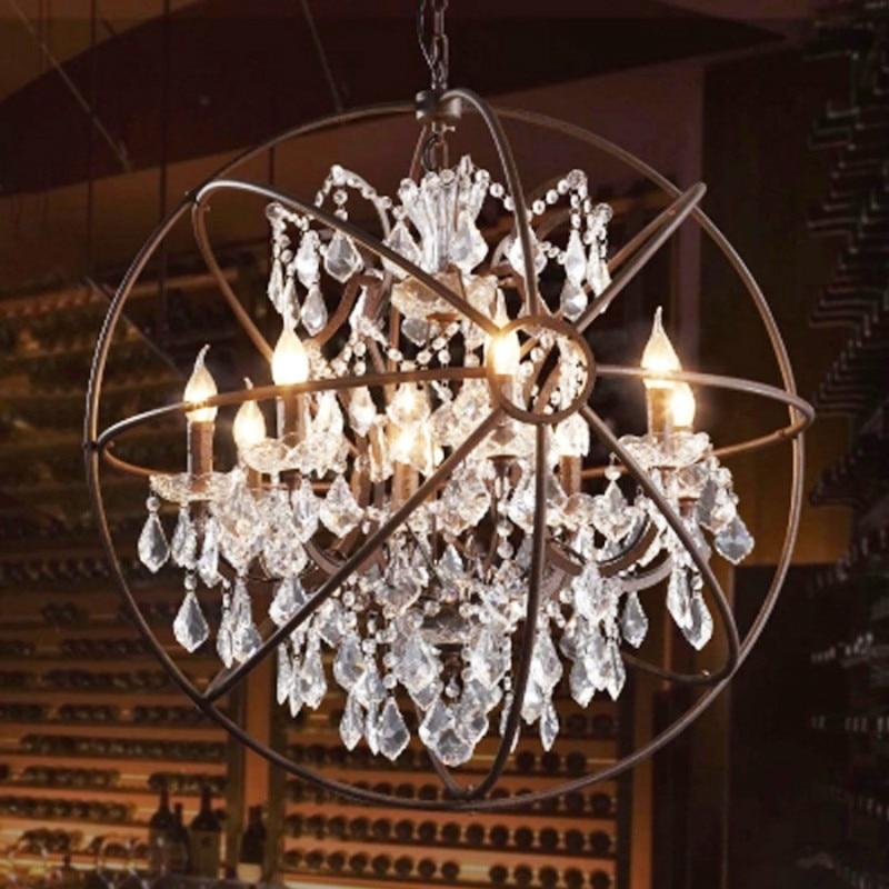 Vintage Orbital K9 Crystal Chandelier Lamp Diy American Home Deco Living Room Retro Rust Iron Luxury Lighting Fixture In Chandeliers From Lights
