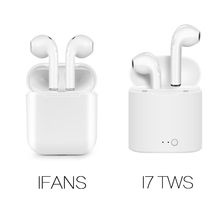 2018 New IFANS Bluetooth Mini Double ear Earbuds Earphone i7 TWS Wireless Air Headsets pods with mic for IPhone 8 7 Plus Android