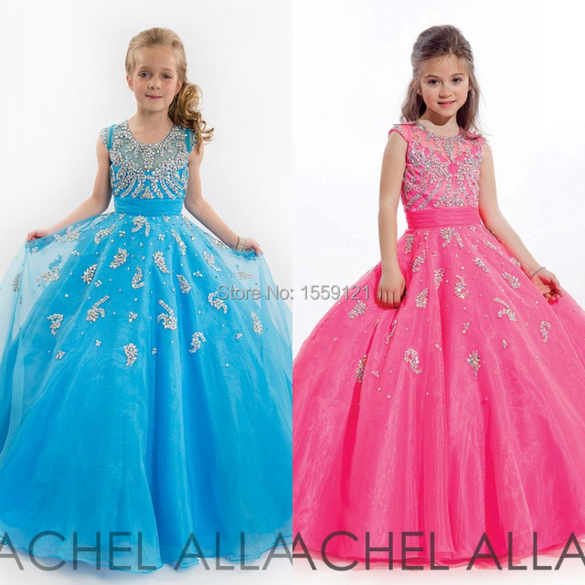 2017 Custom Made Pageant Dresses for Girls Scoop Sleeveless Beading ...