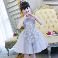 Peacock Lace Embroidery Flower Girl Dress Sequined Evevning Dress Bowknots Ball Gown Kids Pageant Dress for Birthday Party B144