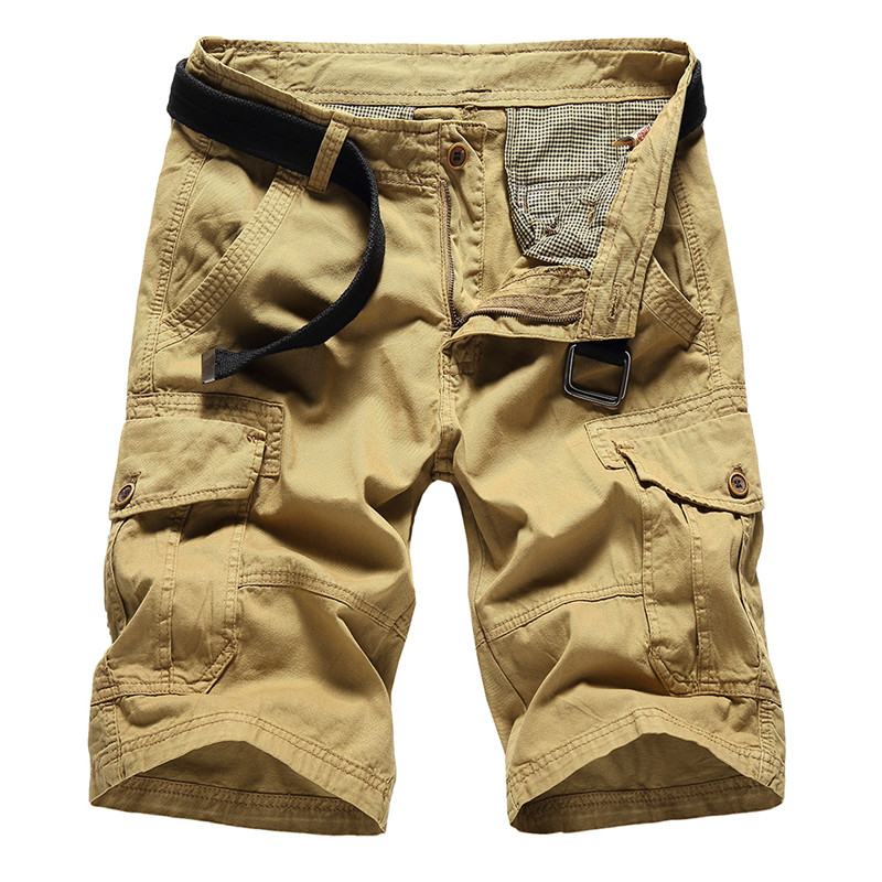 Men New Bermudas Solid Cargo Shorts Masculina De Marca Casual Cargo Shorts Male Loose Work Shorts Fashion Short Pants Masculino