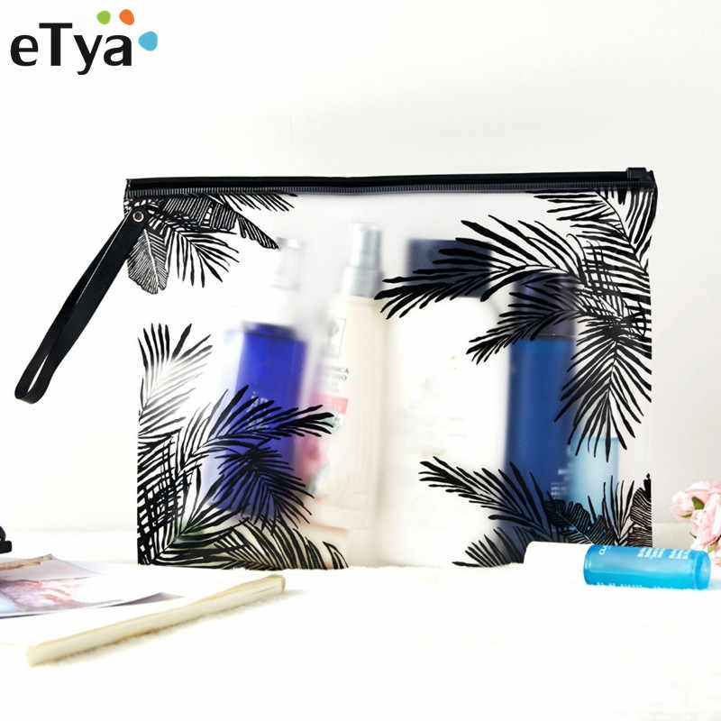 eTya Travel Women Cosmetic Bag PVC Transparent Makeup Bag Toiletry Brush Bags Organizer Necessary Case Bath Wash Make Up Box