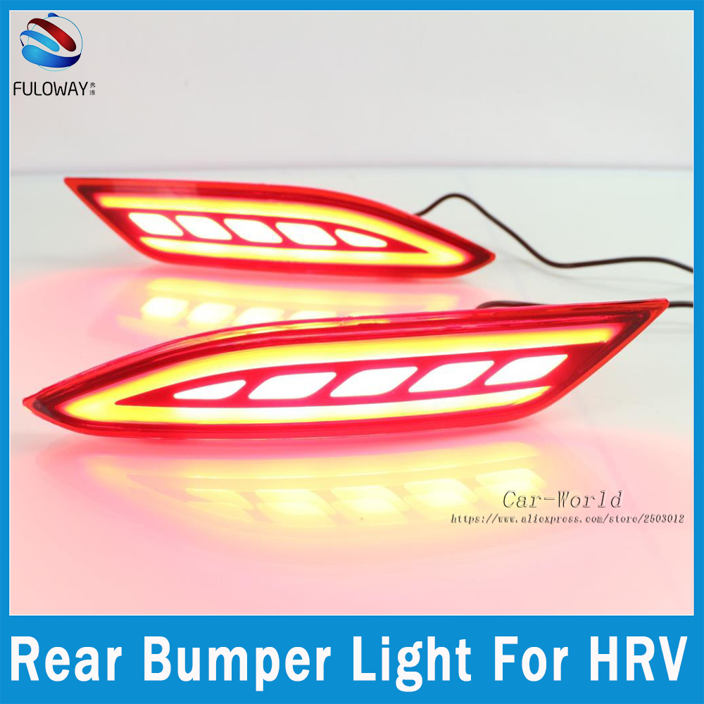 Multi-function For Honda HRV HR V 2015-17 LED Tail Lights Assembly Rear Bumper Lights Brake Lamp DRL Warning Light Car Styling dongzhen fit for nissan bluebird sylphy almera led red rear bumper reflectors light night running brake warning lights lamp
