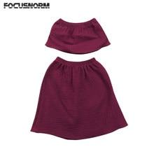 6683294b1 Algodón bebé recién nacido niños Niñas hombros cosecha Tops blusa + Falda  larga partido Pageant vestido formal conjunto