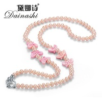 [Dainahsi] Fine Real Pearl Neckalce For Women High Quality Ribbon Real Natural Freshwater Pearl for Wedding In Gift Box