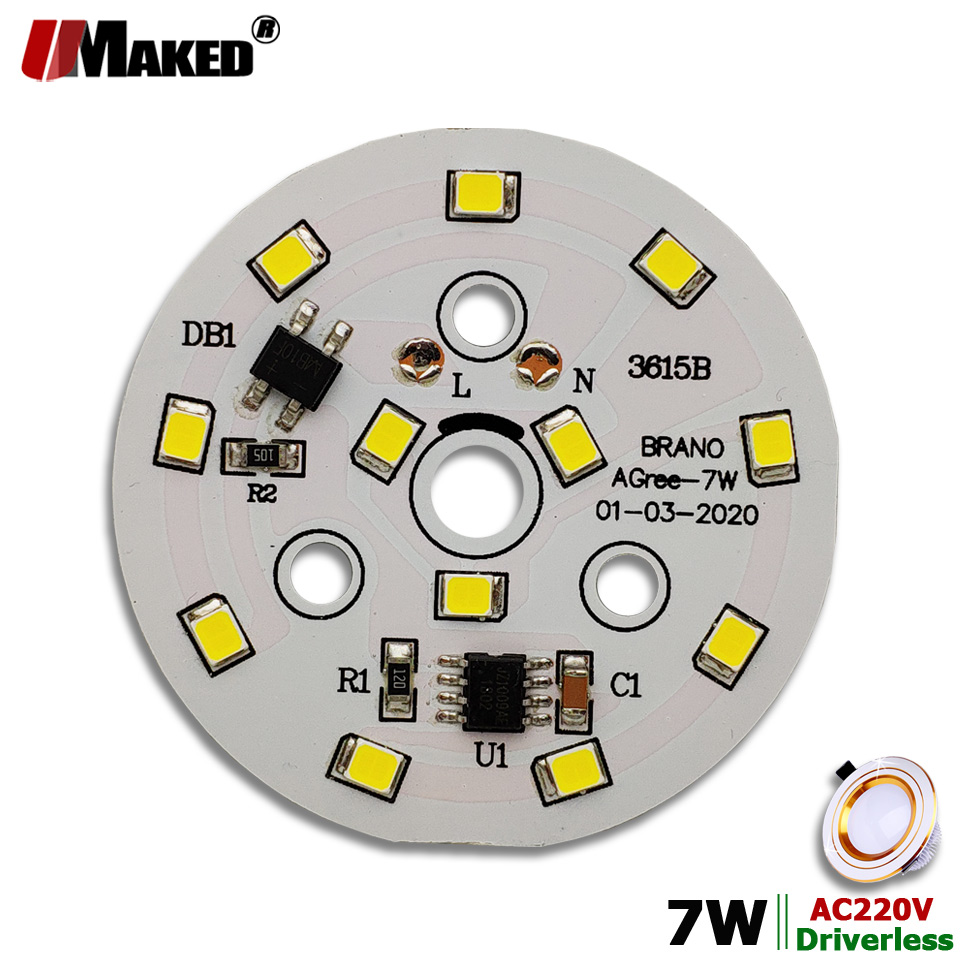Módulo LED AC220V 7 W 50mm 700lm luz descendente PCB placa de aluminio blanco/cálido SMD2835 controlador inteligente IC para lámparas de techo Downlight DIY