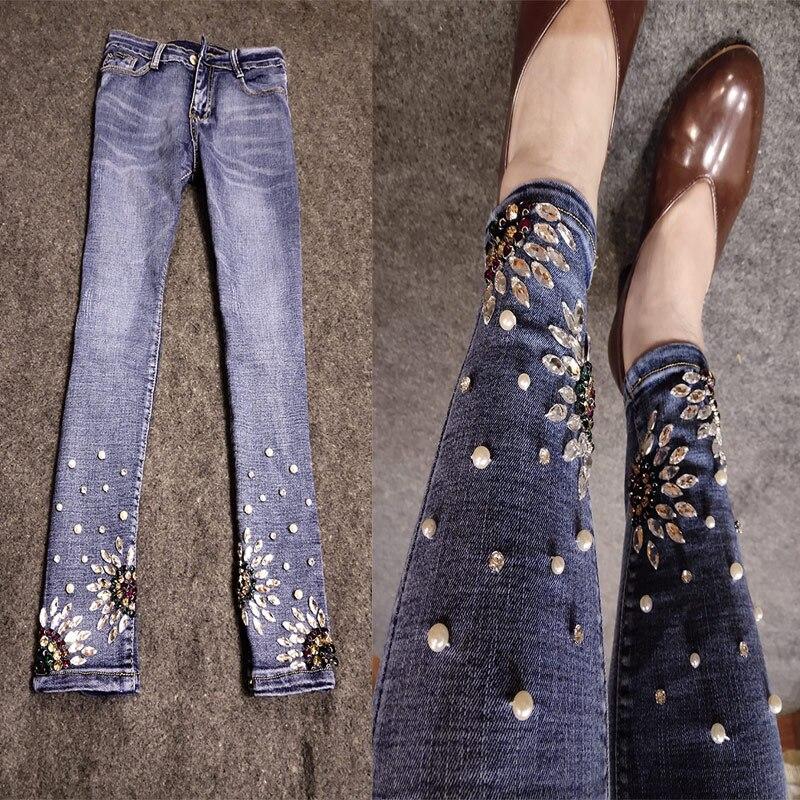 Grande taille 26-32! fait à la main perles strass ankel longueur jeans femmes skinny perles diamant crayon jeans