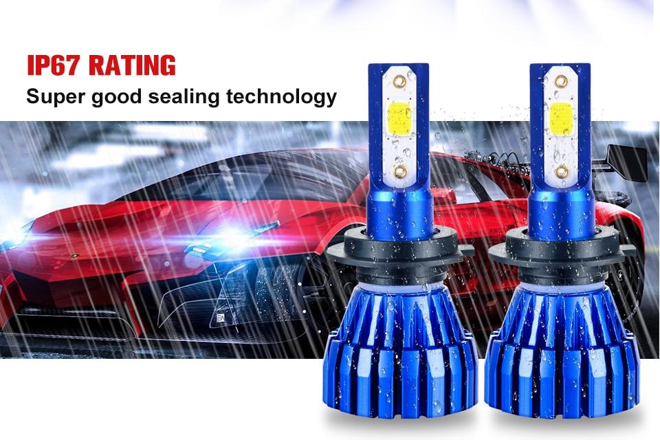 Aceersun 2Pcs 9005 HB3 9006 HB4 H11 H4 H7 Led H1 Auto Car Headlight 72W 8000LM 6500K Automobile Bulb COB CHIP 4300k H3 Fanless (5)
