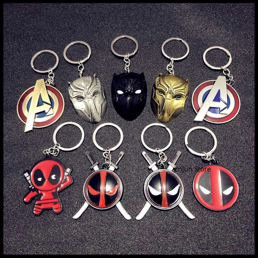 2019 NEW Fashion Creative Avengers Alliance , Black Panther , Deadpool Series Car Keychain Man,Girls Bag Key Chain