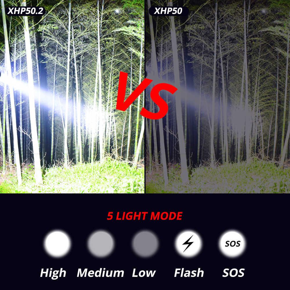 גבוהה כוח XHP50.2 LED פנס Xlamp אלומיניום ציד L2 עמיד למים לפיד אור חזק Lanterna להשתמש 18650 26650 סוללה