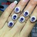 Genuino 1.16ct 925 joyas de plata de ley 100% natural azul tanzanita anillo de mujer de piedra anillos de la joyería