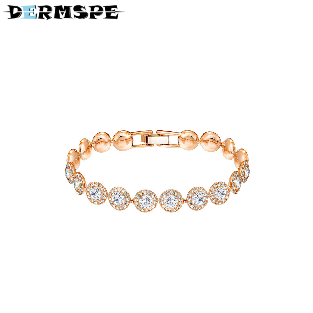 ANGELIC Bracelet White Plated Rose Gold 5240513 Ms. Birthday Fashion Design Valentine's Day Boy Give Girl Gift Crystal Bracelet yoursfs heart necklace for mother s day with round austria crystal gift 18k white gold plated