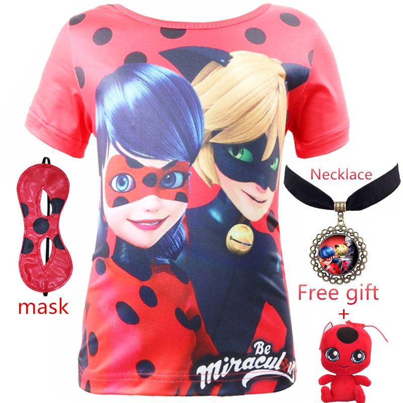 Geschenk halskette Neue Camisetas für Kinder Jungen Mädchen Marke T Shirts Miraculous Marienkäfer 3D Gedruckt Dame Bug T Shirt Kinder kleidung
