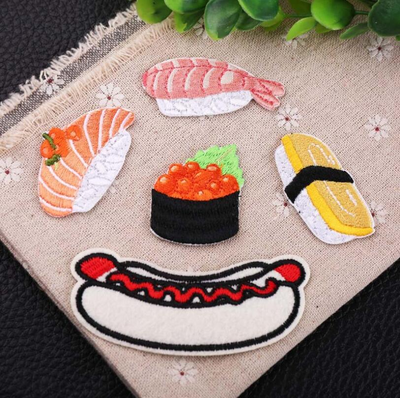 Fish Sushi Bread Food Patchwork Patch Embroidered Patches For Clothing Iron On Close Shoes Bags Badges Embroidery