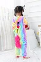 Anime Kids Colorful Unicorn Onesie Children Horse Cosplay Costumes All In One Halloween Pyjamas Flannel Warm