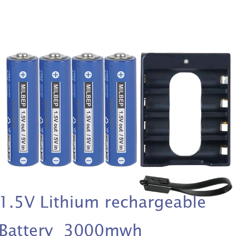 4PCS 1 5V AA rechargeable battery lithium polymer cell 3000mwh 4 slots USB charger 2A li