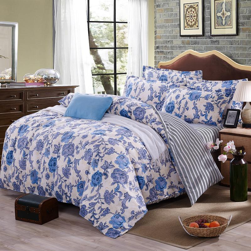 Dream NS Elegant Floral Bedding Set Polyester Cotton Bed Linen Sets 4pcs  Bedspreads Q Size Blue Duvet Cover Bed Sheet Set In Bedding Sets From Home  U0026 Garden ...
