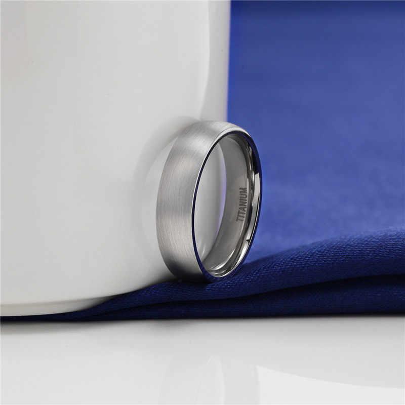 Tigrade 4/6/8mm Brushed Simple SILVER แหวนไทเทเนี่ยมผู้ชายสูงแหวนแต่งงานแหวนหมั้นผู้หญิงแฟชั่นเครื่องประดับชาย