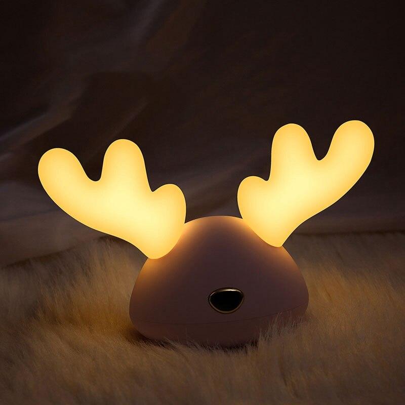 Led Colorful Cartoon Cute Deer USB Charging Kids Sleeping Lights Silicone Lights for Christmas Gifts for bedroom/Livingroom