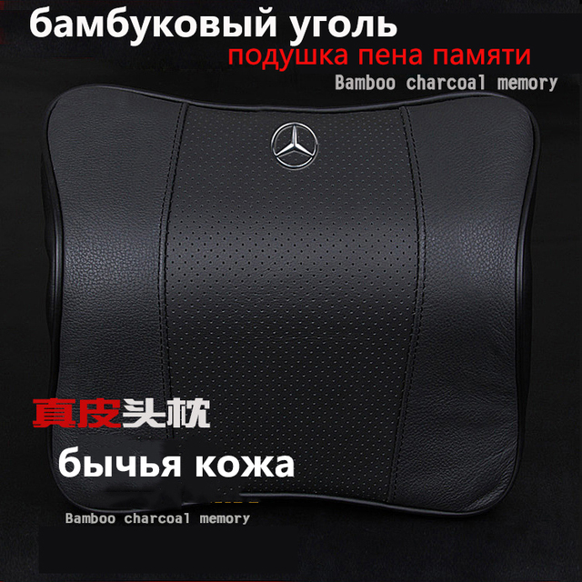 Neck pillow for car seat sleeping pillow memory foam headrest Travel Pillow genuine Leather charcoal pillow x60 primera A6 A7 A8