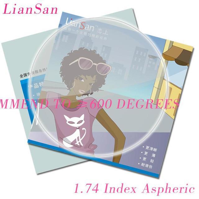 Ultra Fino 1. 74 Índice de Lentes Olhos Personalizar Óculos de Miopia Prescrição de Lentes ÓPTICAS