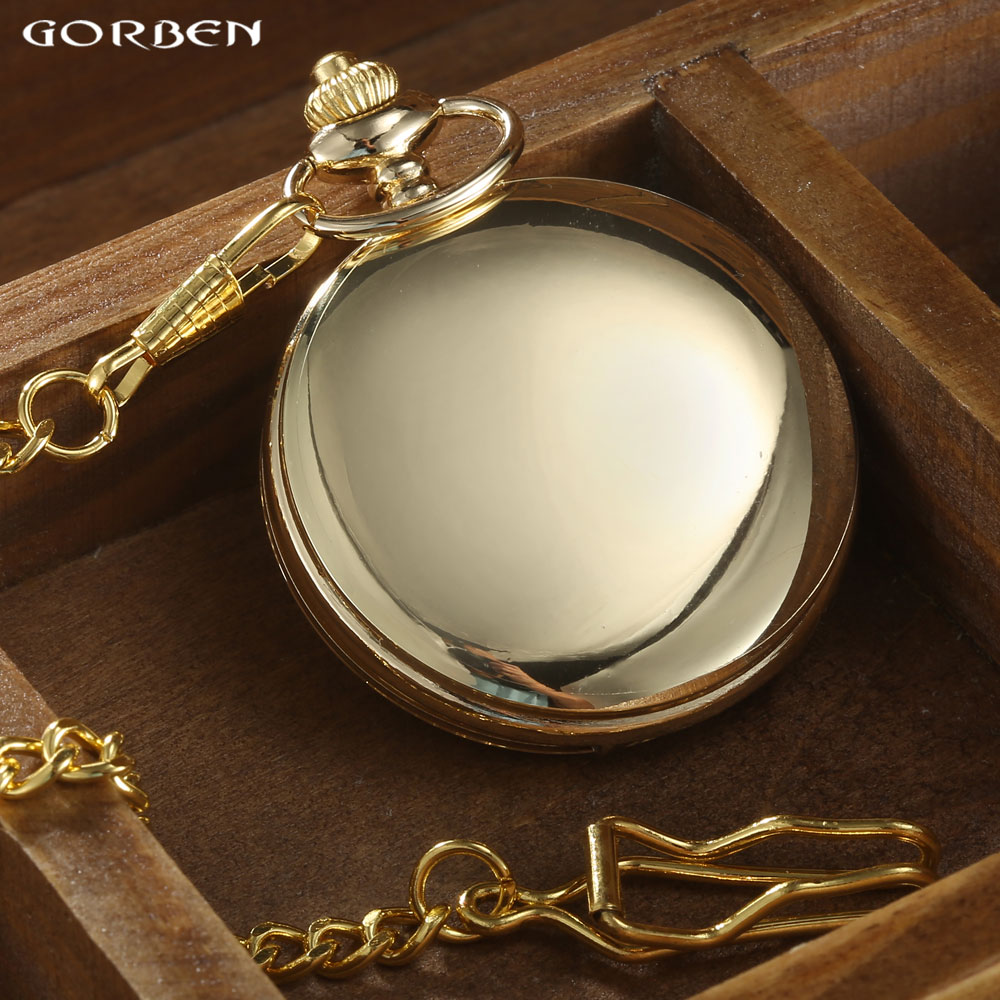 GORBEN Marca Clásico Reloj de Bolsillo de Cuarzo Para Hombres de Oro - Relojes de bolsillo - foto 2