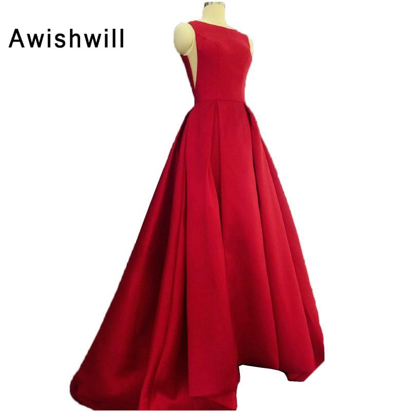 New Arrival Red Evening Dresses Long Vintage Open Back Satin Formal Dress For Women Elegant Party Prom Dress Vestido De Festa
