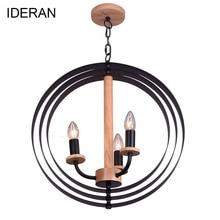 IDERAN wooden Chandeliers lights Loft Corridor Restaurant E27 LED Ceiling Lamp Hanging Light Bedroom Decor Droplight  Cafe