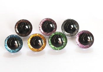 30pcs/lot 18mm/20mm plastic clear toy eyes + glitter Nonwovens hard washer for plush animal doll