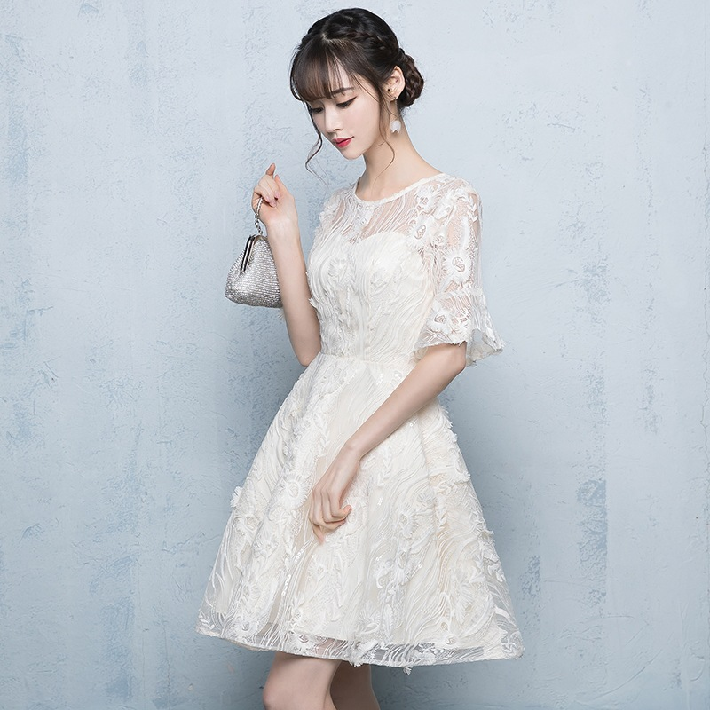 Zipper   Bridesmaid     Dress   Elegant O-neck Short Sleeve Party Ball   Dresses   Fashion Champagne Lace Knee-length   Bridesmaid   Gowns E082