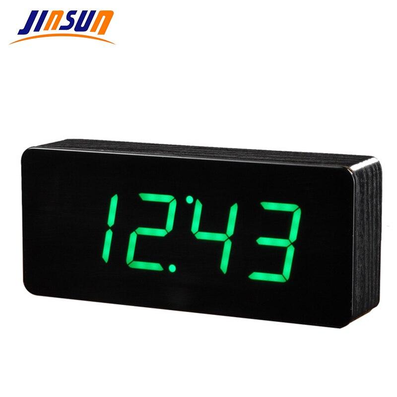 JINSUN Dřevěný LED budík Despertador Teplotní zvuky Ovládání LED displeje Digitální elektronický stolní despertador