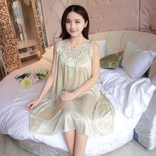 Embroidery Summer Ladies Sexy Sleepwear Female Ice Silk Satin Night Dress Women Nightwear Plus Size Satin Nightgown #10