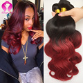 Xuchang Loving Hair Red Brazilian Weave Body Wave 3 Bundles Burgundy Brazilian Body Wave Virgin Hair Ombre Burgundy Human Hair