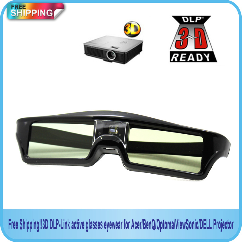Free Shipping 2014new 3D DLP Link active glasses eyewear for Acer BenQ Optoma ViewSonic DELL Projector