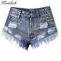 Kostlich Fashion Vintage Jean Women Tassel Rivet Ripped Loose High Waist Jeans New Sexy Women Short Jeans Punk Denim Shorts