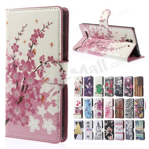 Pink Plum Magnetic Leather Wallet Handbag Book Cover Case For Flip Sony Xperia C3 phone case D2533 / C3 Dual D2502 coque fundas