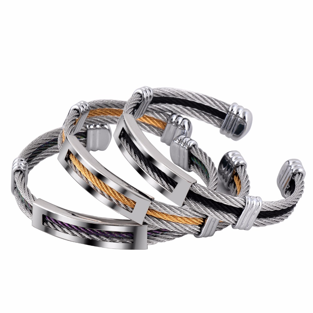 Fashion women office jewelry stainless steel twisted cable bangle not turn off color cuff bracelet for she gift wholesale