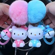 72790e380 Cartoon Rabbit Fur Pom Pom Sound Hello Kitty Keychain Bells KT Key Ring Car Kid  Toys Doll Key Chains Trinket Gift Porte Clef