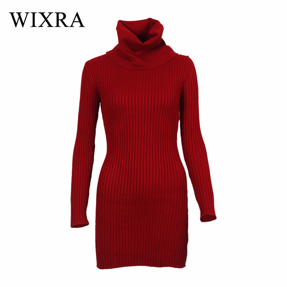 Wixra Turtleneck Long Knitted Sweater Dress Women Cotton Slim Bodycon Dress Pullover Female Autumn Winter Dress For Women