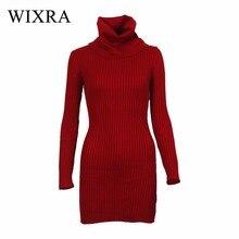 Wixra водолазка длинный вязаный Платья-свитеры Для женщин Хлопок Тонкий Bodycon платье пуловер Женский осень-зима платье для Для женщин