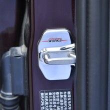 2 uds. De cerradura de puerta de acero inoxidable para BMW MINI F54 F55 F56 F57 F60 JCW, cubierta de protección antioxidante Modificación de cochePegatinas interiores automotrices