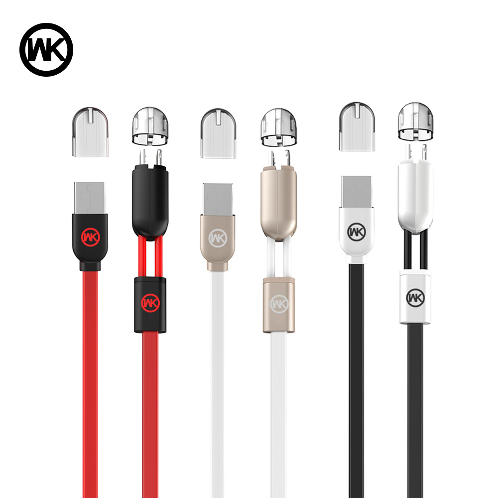 WK DESIGN 2 in 1 Micro USB Lighting Fast USB Charging Data Cable for Apple Samsung Huawei LG Tablet Android Mobile Phone Cord